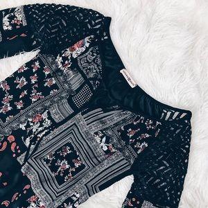 Altar'd State Patterned Dress w Lace Detail Sz M